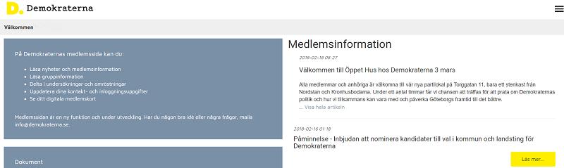 Medlemsinlog på demokraterna.se