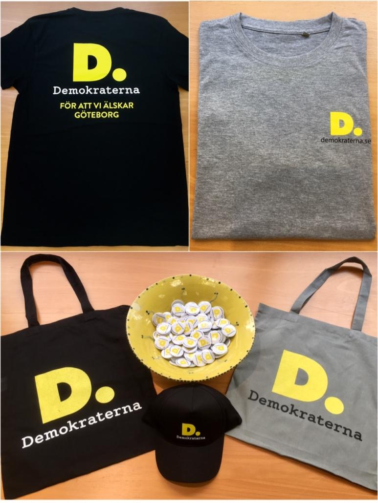 Nu säljer vi T-shirts, kepsar och tygpåsar.