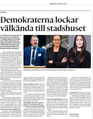 Arne Larsson skriver i GP 18 mars 2019 om Demokraternas tillskott.