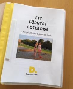 Ett förnyat Göteborg. Demokraternas budget 2020.